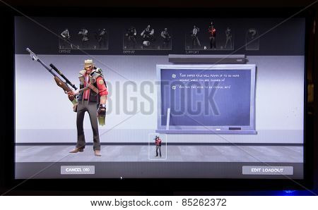 Depew, OK, USA - March 14, 2015: Red Sniper on class selection screen of Team Fortress 2, a team-based first-person shooter multiplayer video game by Valve Corporation, released on October 10, 2007.