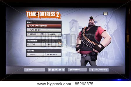 Depew, OK, USA - March 14, 2015: Heavy on Team Fortress 2, a team-based first-person shooter multiplayer video game by Valve Corp, released on October 10, 2007. June 23, 2011, it became free to play.