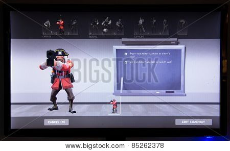 Depew, OK, USA - March 14, 2015: Red Soldier on class selection screen of Team Fortress 2, a team-based first-person shooter multiplayer video game by Valve Corporation, released on October 10, 2007.
