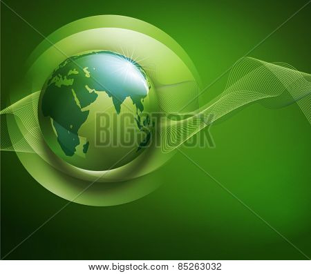 abstract background for ecological design with a leaf, a drop and globe ,