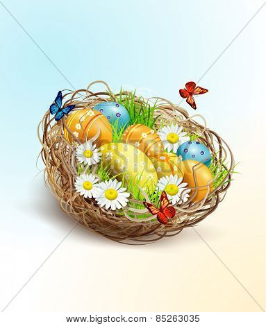 Easter background with eggs and nest