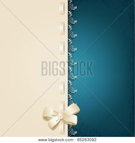 template for wedding background with lace, satin ribbon and lacing