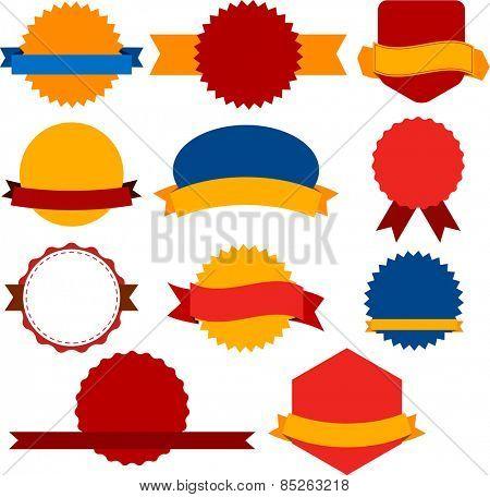 Set of red, orange and blue award badges. Vector illustration.