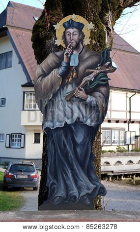 ST. GILGEN, AUSTRIA - DECEMBER 14: Saint John of Nepomuk in St. Gilgen on Wolfgang See lake, Austria on December 14, 2014.