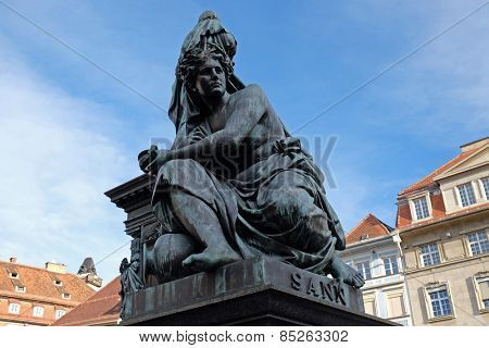 GRAZ, AUSTRIA - JANUARY 10, 2015: Archduke Johann Fountain, allegorical representation of the river Sann, Hauptplatz square, Graz, Styria, Austria on January 10, 2015.