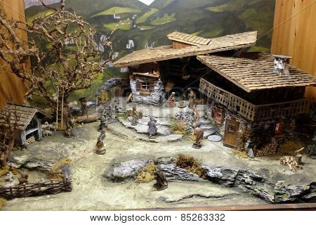 HALLEIN, AUSTRIA - DECEMBER 14: Nativity scene, creche or crib, is a depiction of the birth of Jesus, Hallein, Austria on December 14, 2014.