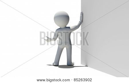 White rear view man holds white wall