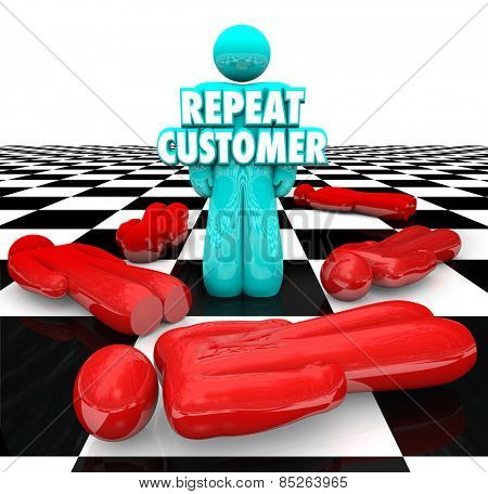Repeat Customer words on a person standing as a loyal, satisfied, faithful return client for your company or business products and services