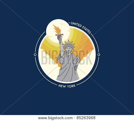 New York Liberty Statue Vector City Icon