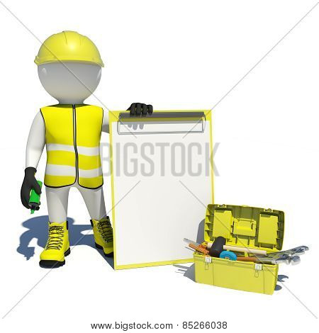 White man in special clothes, shoes and helmet holding clipboard, soft-tip pen green. Background of
