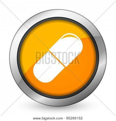 drugs orange icon medical sign