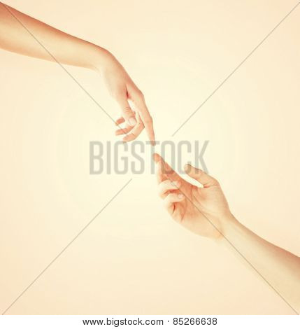 close up of woman giving her hand to man