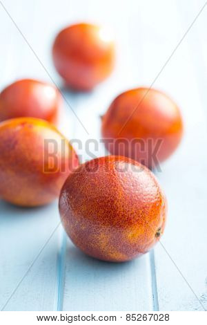 blood red oranges on kitchen table