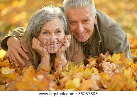 Mature couple lying