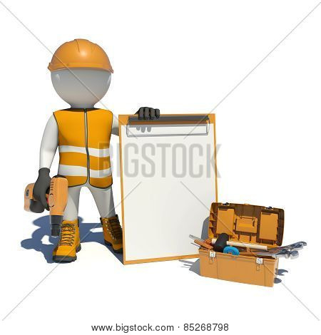 White man in special clothes, shoes and helmet holding clipboard, with hand drill. Background of too