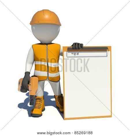 White man in special clothes, shoes and helmet holding clipboard, with hand drill