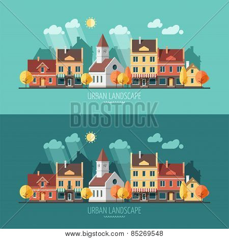 Autumn - urban landscape illustration.