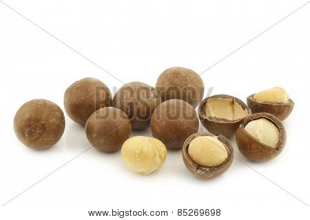 Macadamia nuts (Macadamia tetraphylla) and some peeled ones on a white background