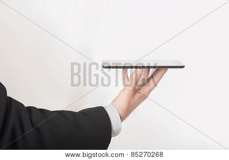 Businessman Serving Tablet Device