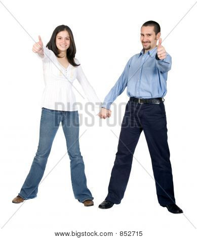 beautiful couple thumbs up