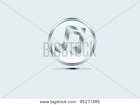 Vector Metal Multimedia Musical Note Icon