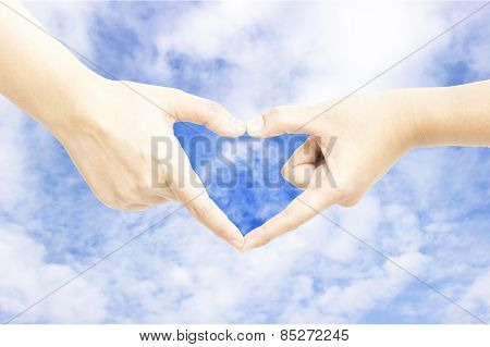 Hand Heart Shape Sky Background
