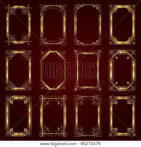 Vector set of decorative golden frames