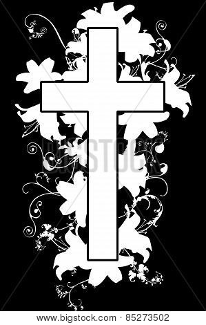 Christian Cross And Plant  B-w