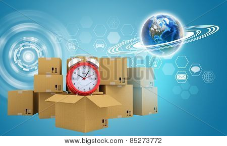 Postal boxes on them alarm clock. Backdrop of earth and hexagon