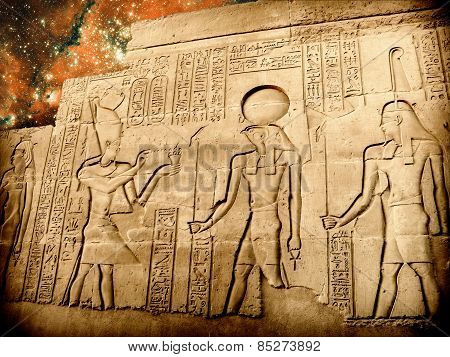 Bas-relief Of Sobek Temple At Kom-ombo And Small Magellanic Clou