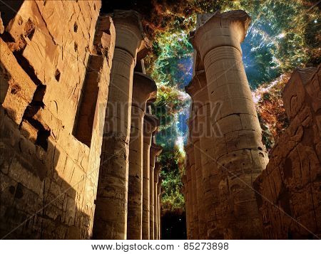 Colonnade In The Luxor Temple And The Crab Nebula (elements Of T