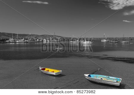Color Boats With Black And White Background