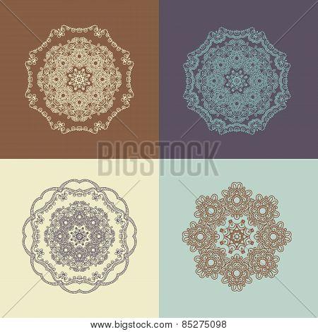 Mandala, East Ornament. Set Of Vector Illustration