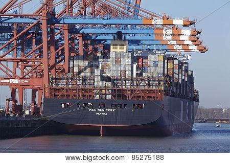 Hamburg (germany) - Containership At The Port Waltershof