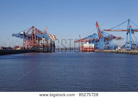 Hamburg (germany) - Containerships At The Port Waltershof