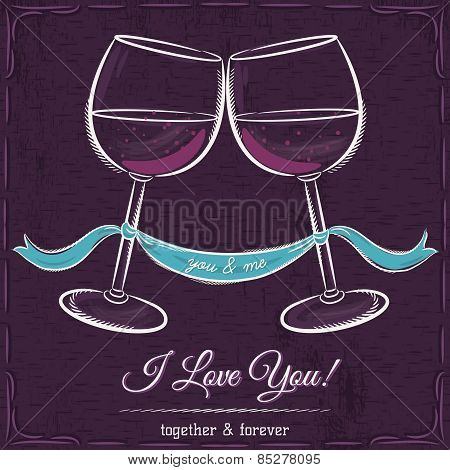 Purple Wedding Card With Two Glass Of Wine And Wishes Text