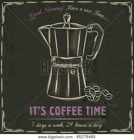 Brown Blackboard With A Coffee Maker And Text, Vector