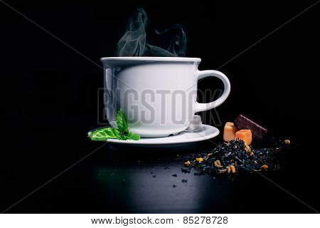 Still Black Tea And Candies