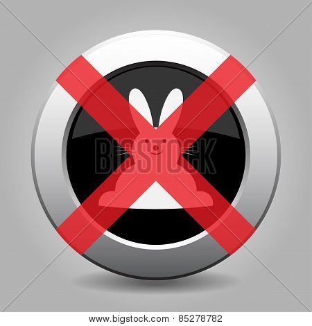 No White Easter Bunny - Metal Button