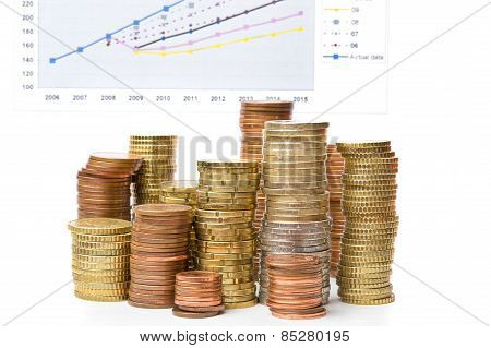Stack Of Coins And Statistical Chart