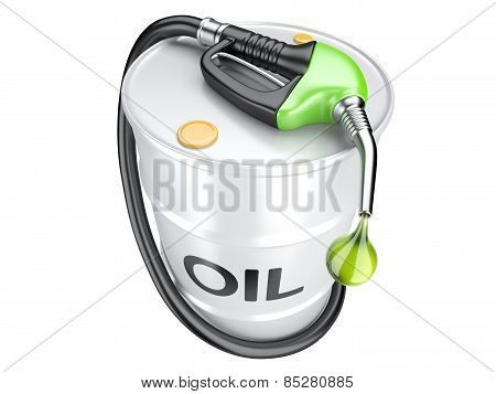 Bio Fuel Concept With Oil Barrel And Gas Pump Nozzle.