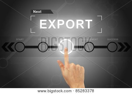 Hand Clicking Export Button On A Screen Interface