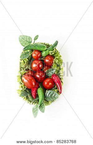 red and green vegetables in green basket