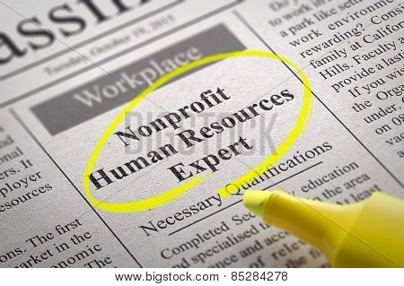 Nonprofit Human Resources Expert Vacancy in Newspaper.