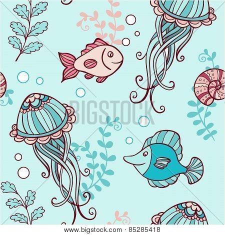 Seamless Pattern With Jellyfish And Fish