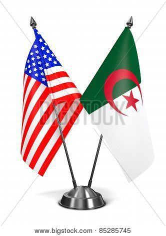 USA and Algeria - Miniature Flags.