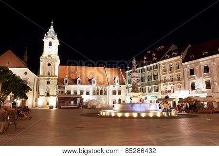 Central Square At Night In Bratislava
