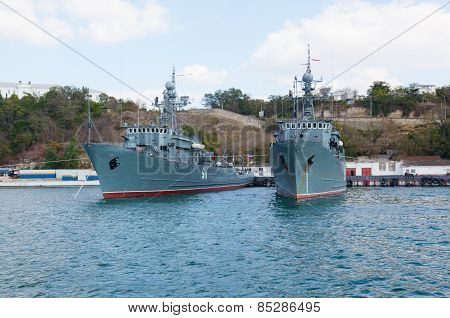 Ships Of The Russian Navy Stand On The Anchor Parking