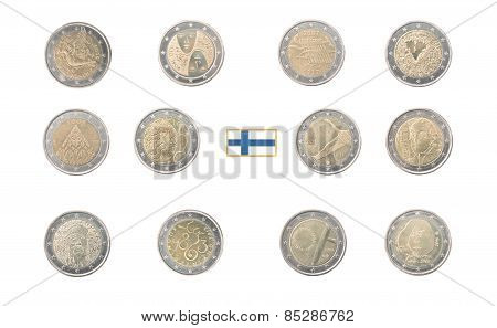 Set Of Commemorative 2 Euro Coins Of Finland