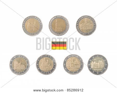 Set Of Commemorative 2 Euro Coins Of Germany